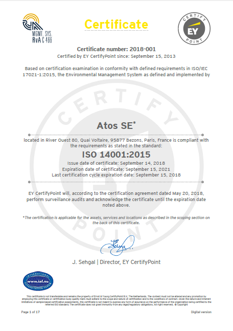 Atos once again receives ISO 14001 certification, well-known