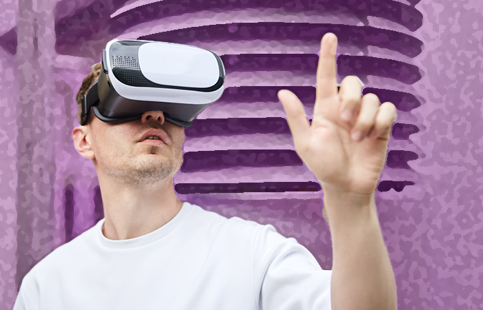 Young man with virtual reality glasses
